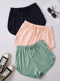 3 Pack Tie Front Track Shorts