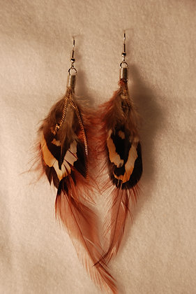 Calico Feathered Earrings