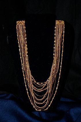 Half-Dangle Brown Bead Necklace