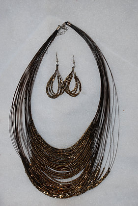 Dipped Shimmer Necklace / Earring Set