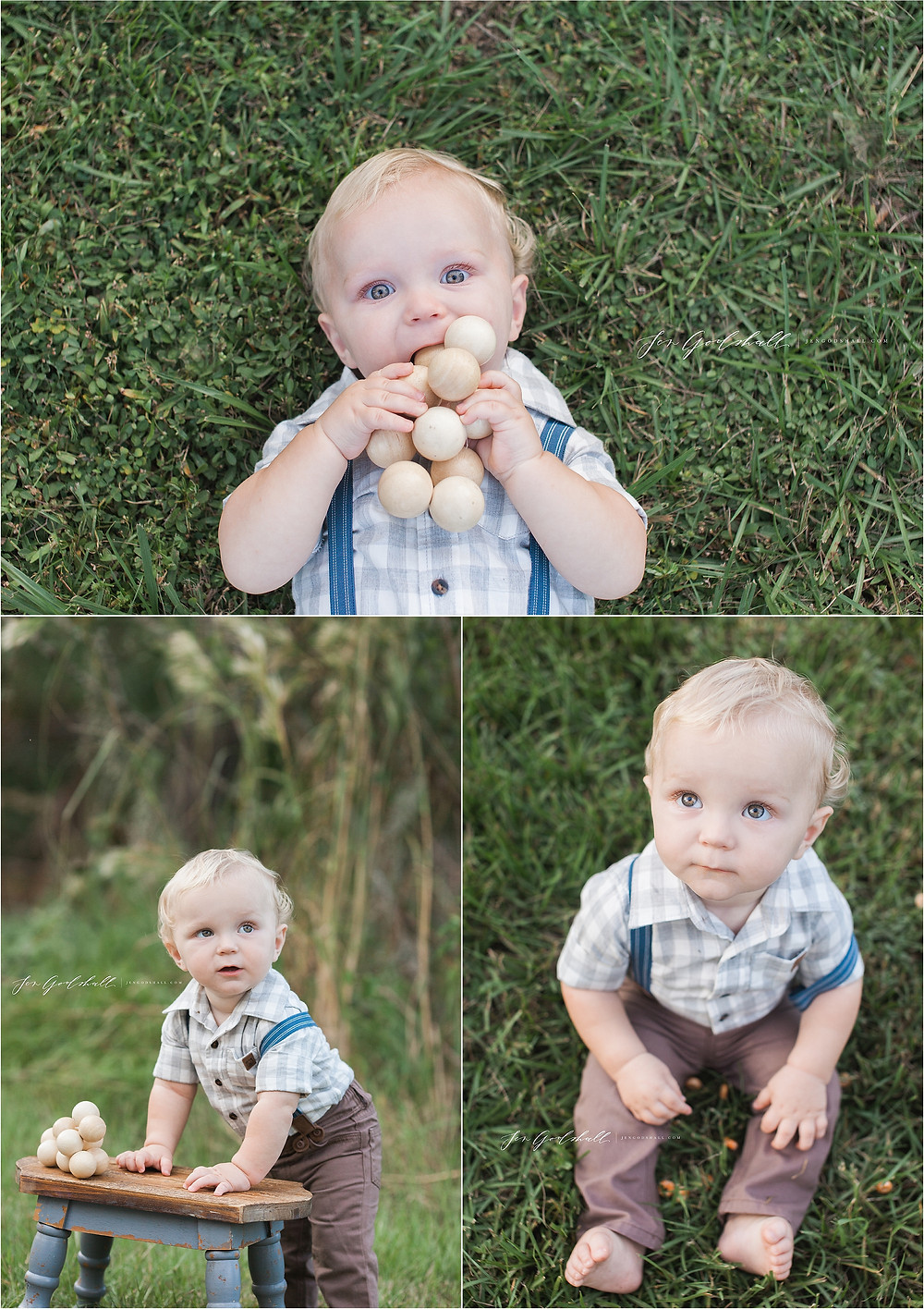 Toddler in suspenders sitting in grass in Sarasota Florida family photographer