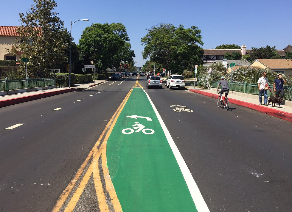 This is an image of a street with a bike lane