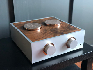 Natural pre-amplifier with rose gold trim, tall rose gold cowls and a modified dark burr veneer lid