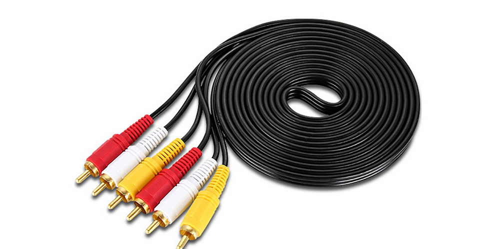 3RCA Male To 3RCA Male CCS Gold Plated 2.8MM
