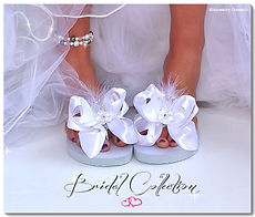 wedding flip flops, flip flop clips, flip flop bows, bridal flip flops, how to decorate flip flops, interchageable flip flops