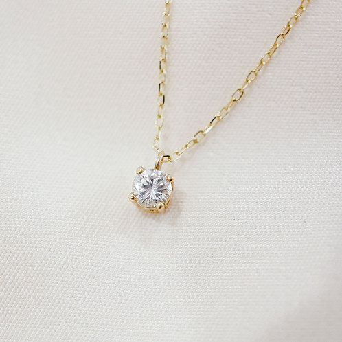 Round Solitaire Diamond Necklace