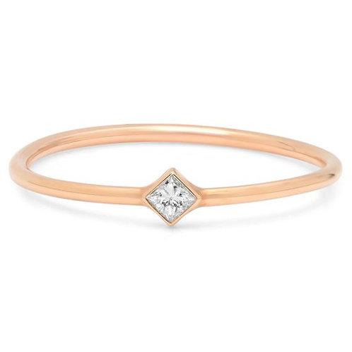 Tilted Princess Diamond Stackable