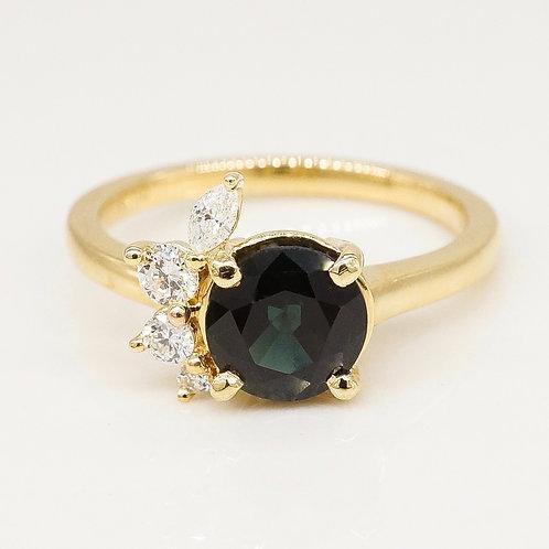 Deep Sea Green Tourmaline and Diamond Ring