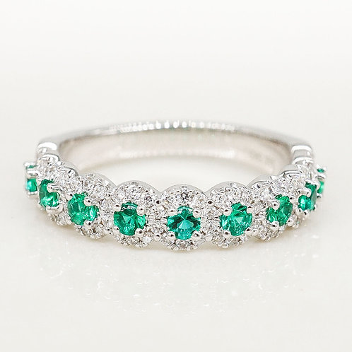 Emerald and Diamond Halo Band