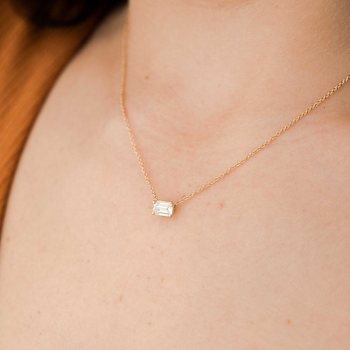 East to West Emerald Diamond Necklace