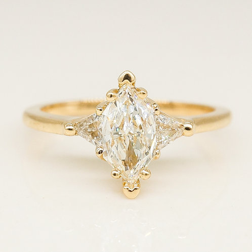 Marquise Three Stone Ring with Trillion Diamonds
