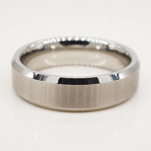 Chrome Beveled Tungsten Band