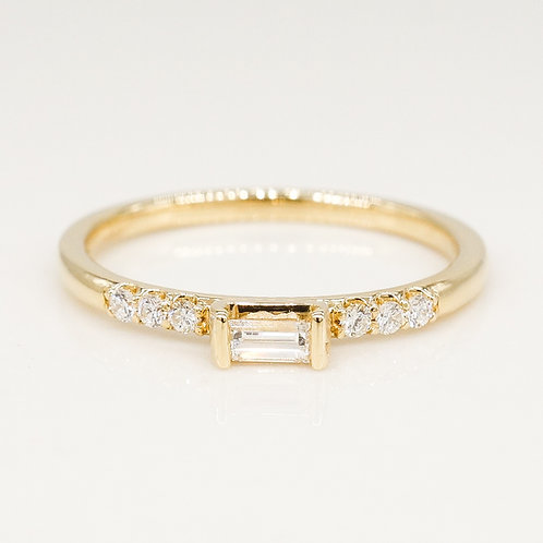Baguette and Round Diamond Stackable