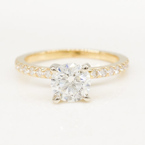 Round Diamond Accented Solitaire Ring