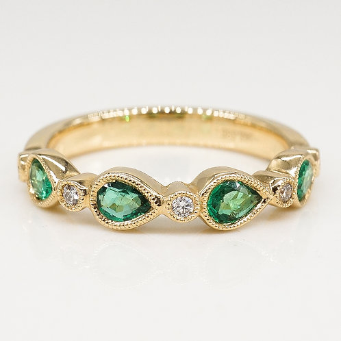 Green Emerald and Diamond Band