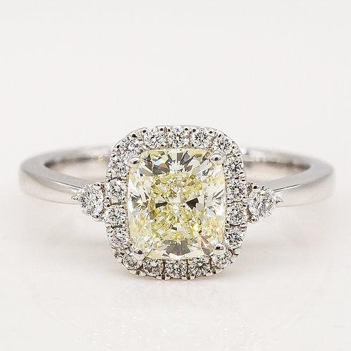 Cushion Shape Yellow Diamond Engagement Ring