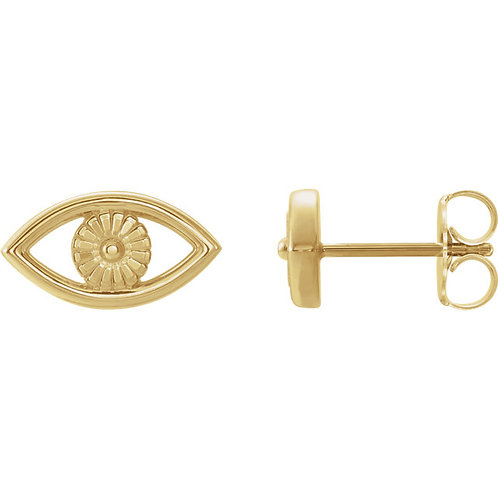 Solid Gold Evil Eye Earrings