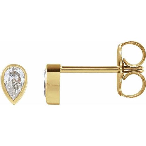 Petite Pear Diamond Studs