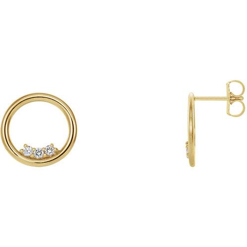 Three Stone Circle Earrings