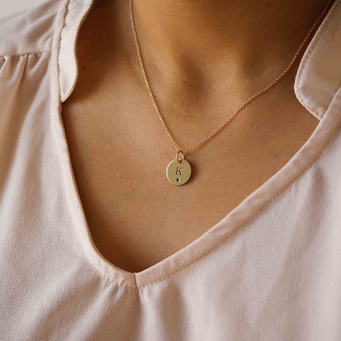 Engravable Birthstone Disc Necklace