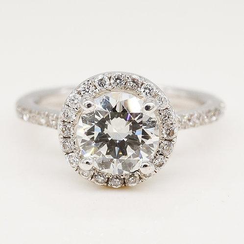 GIA Certified Round Diamond Halo Engagement Ring