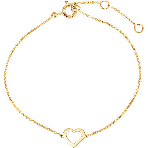 Solid Gold Heart Bracelet