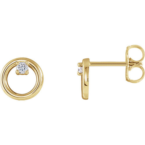 Solitaire Diamond Circle Earrings