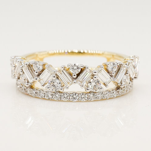 Mixed Baguette and Round with Classic Diamond Band