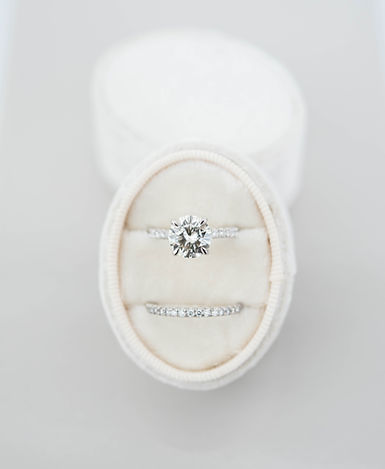 Diamond Engagement Ring and Pave Wedding Band