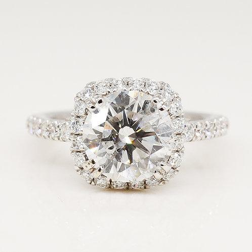 Double Prong Halo Diamond Ring