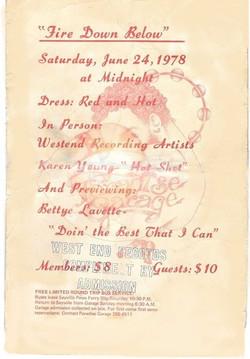 Fire Down Below party, June 1978