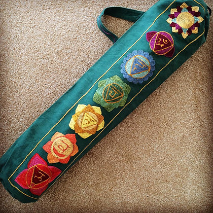 Stunning Chakra Design Yoga Mat Bag in Rainbow Green