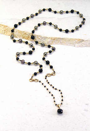 Knotted Silk ~ Black Pyrite