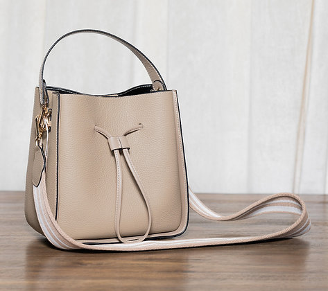 Drawstring Bucket - Taupe Leather