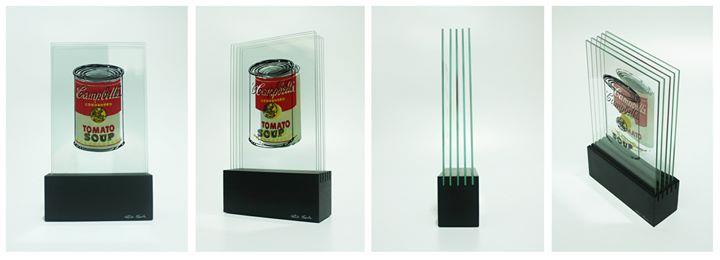 """Obra_ """"Campbell's Soup Lâminas""""_Artista_ RUDI SGARBI_Técnica_ Serigrafia em Vidro sobre Base de MDF_"""