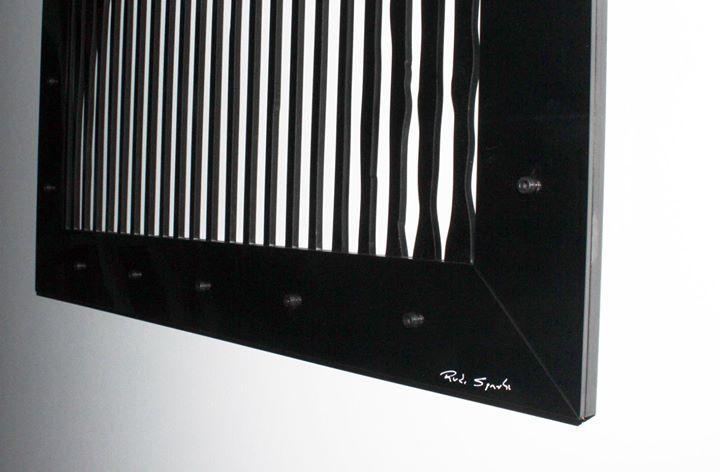 """Obra_ """"Optical Art Monalisa""""_Artista_ RUDI SGARBI_Técnica_ Recorte eletrônico em Acrílico 4mm_Medida"""