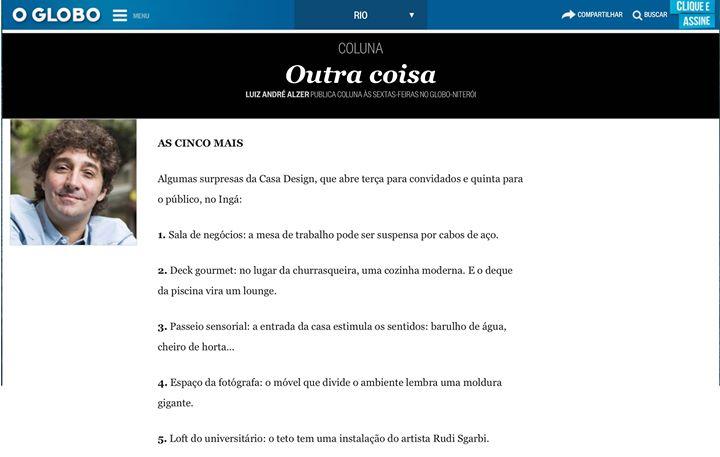 O Globo_ coluna Outra Coisa do Luiz André Alzer! _Novidades na Mostra Casa Design que abre suas port