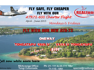 Tonga's Domestic Airline, Real Tonga, Offering Discounted Air Fares for Your Vava'u Holiday.