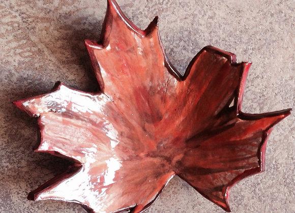 Pressed Maple Leaf Ceramic Dish
