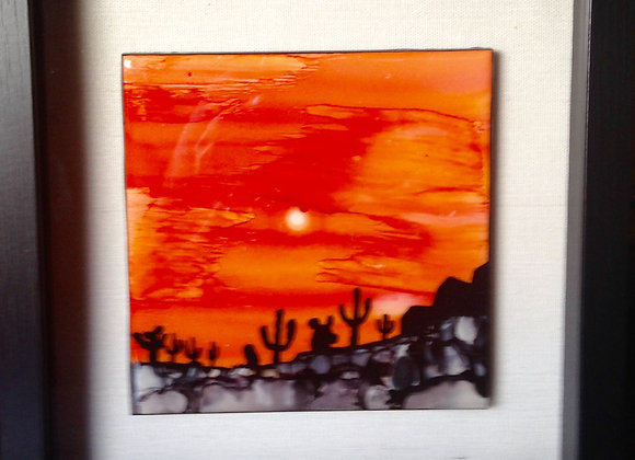 Framed Hand-painted Ceramic Tile
