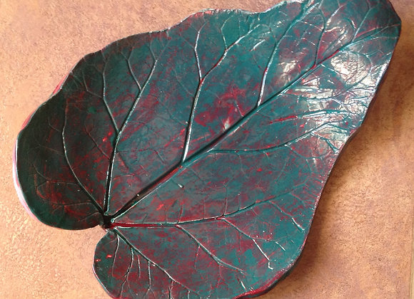 Large Ceramic Two-Toned Leaf Dish