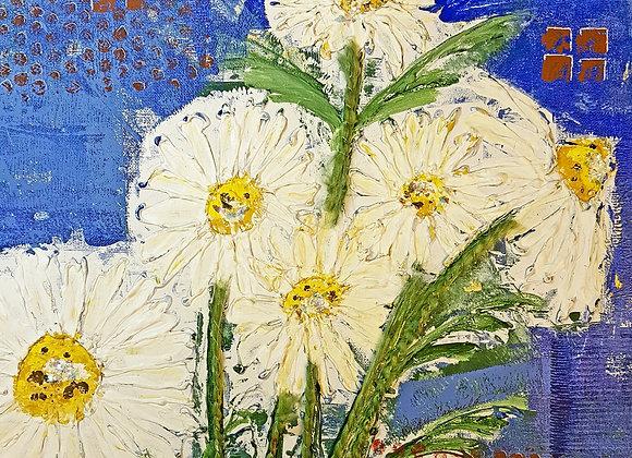 Daisies Mixed Media Painting