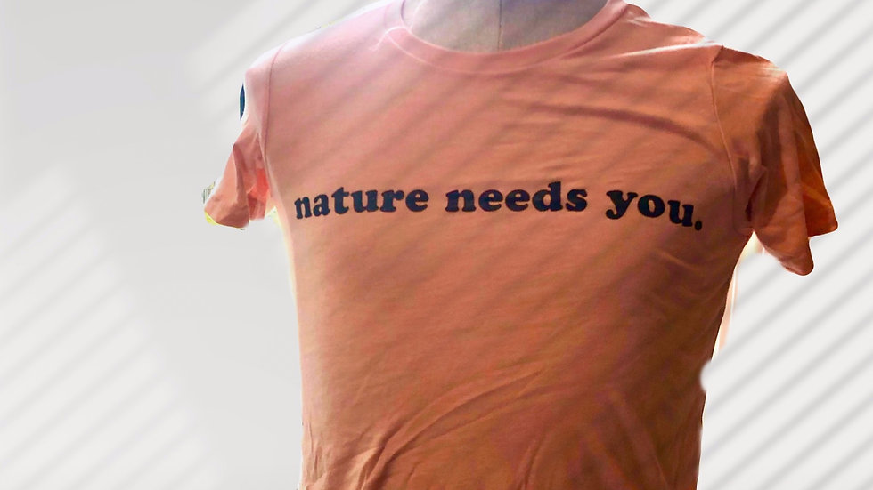 "Peach ""nature needs you."" Youth Short Sleeve Tee"