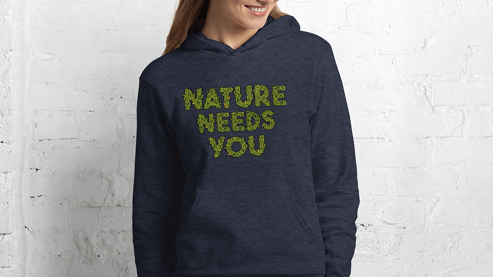 nature needs you. Hoodie Heather Navy