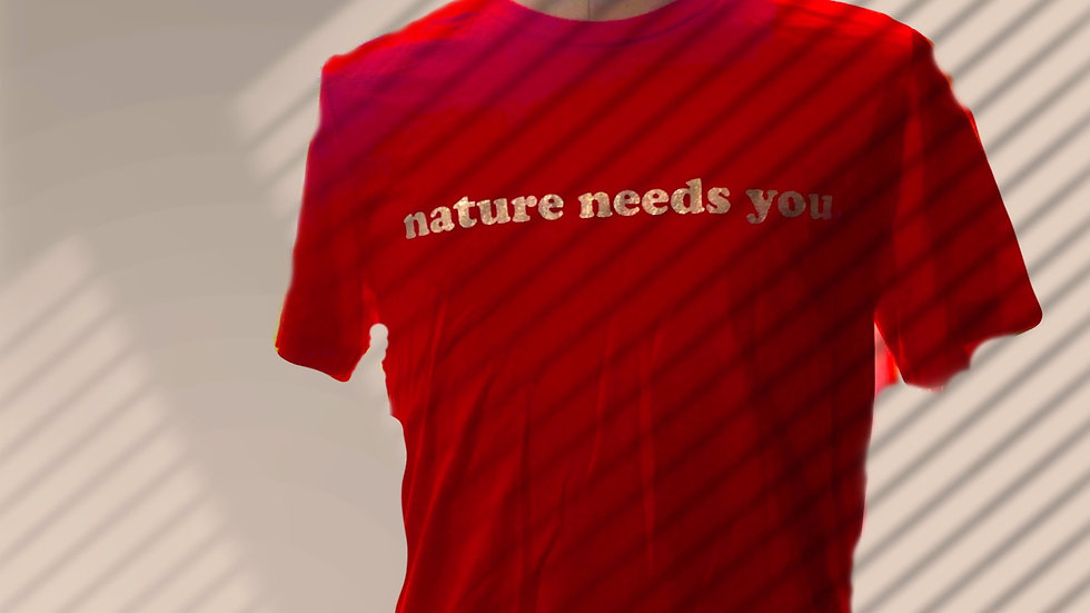 """nature needs you."" Elephant Print Red Short Sleeve Shirt Tee"