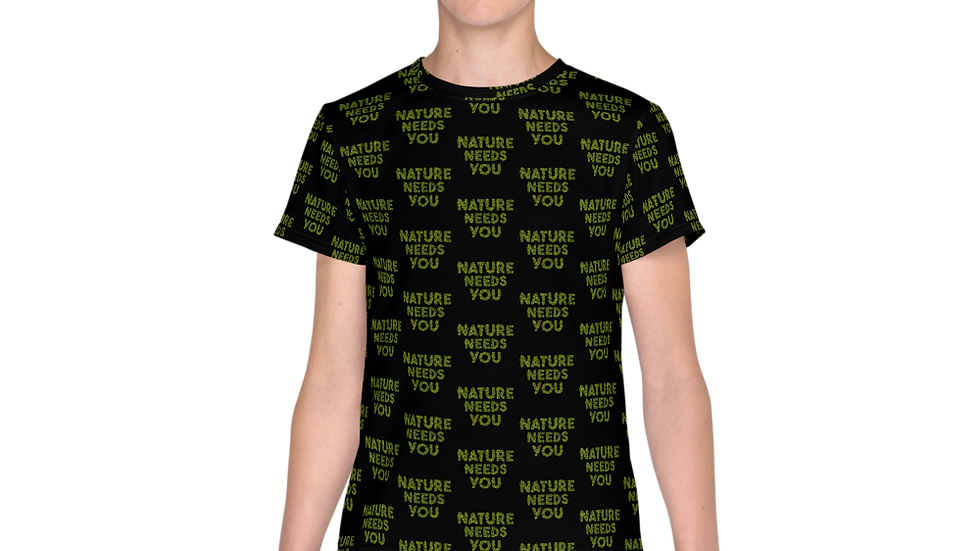 nature needs you. Youth All Over Print Shirt Black