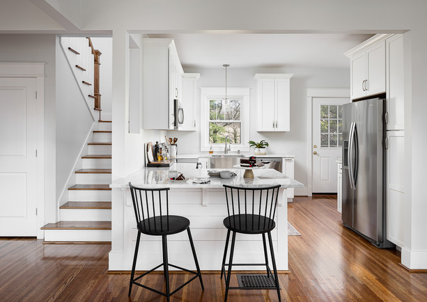 white shaker cabinets, shiplap bar, marble counter top