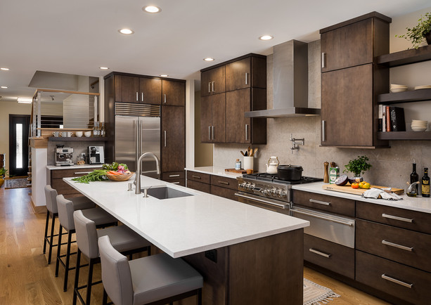 Slab kitchen cabinet doors with quartz counter top. Wolf range and hood. Floating shelves.