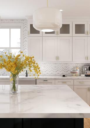 White kitchen with navy island