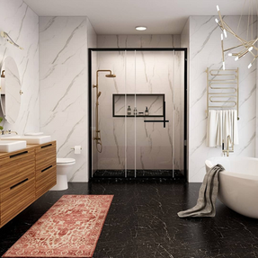 Bath design with carrara marble